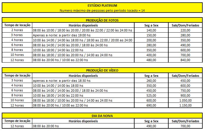 Tabela de Preço de Estúdio Platinum
